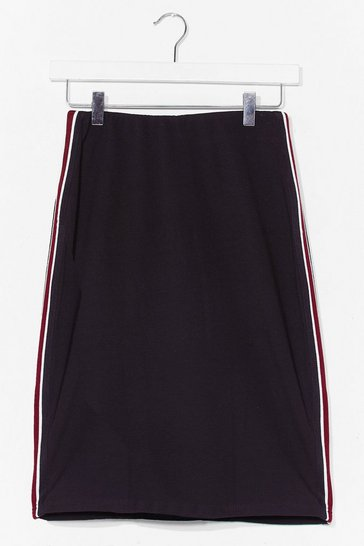Black Take My Side Striped Mini Skirt
