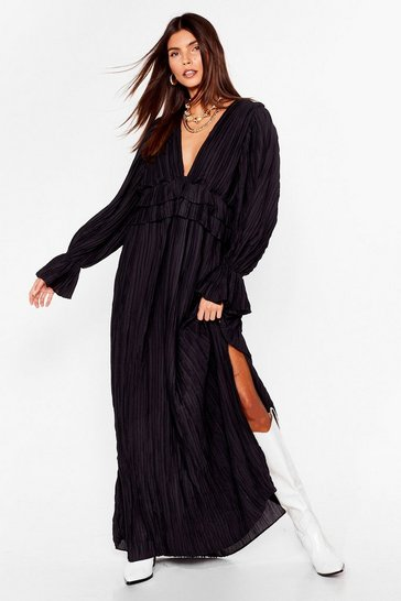 Black Frill Detail Maxi Dress with split leg
