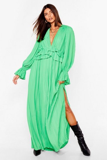 Bright green Frill Detail Maxi Dress with split leg