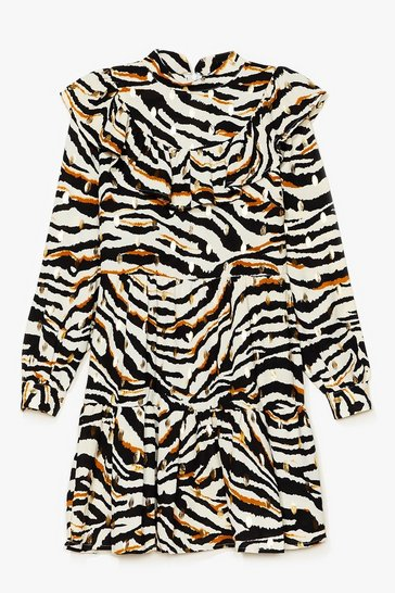 Cream Zebra Print Ruffle High Neck Mini Dress