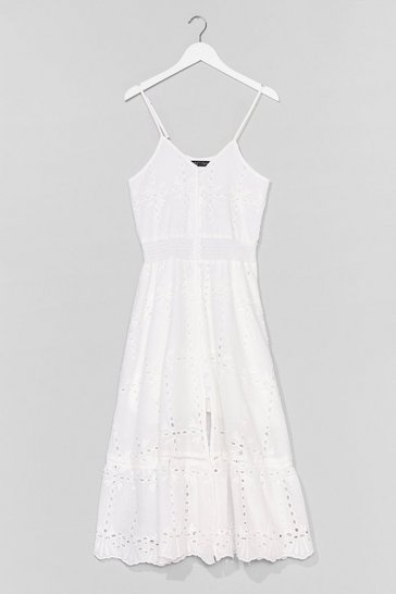 White Hole in One Broderie Midi Dress