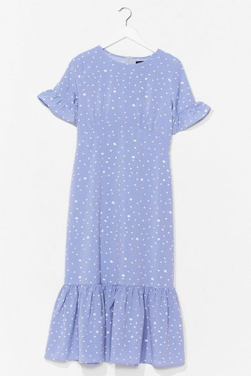 Blue POLKA DOT UNDERSBUST MIDI TEA DRESS