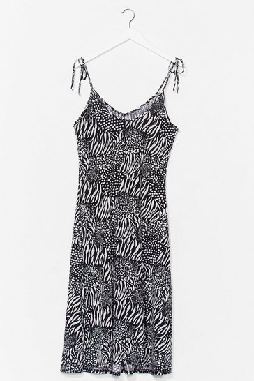 Black Animal Print Tie Strap Cami Midi Dress