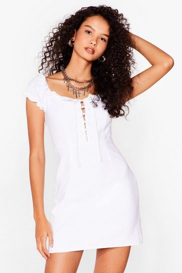 White Strings Attached Lace-Up Mini Dress