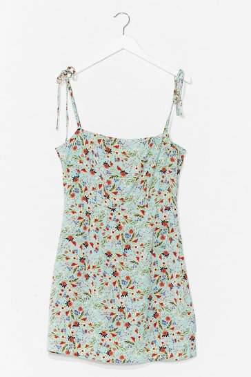 Mint Floral Tie Strap Mini Cami Dress