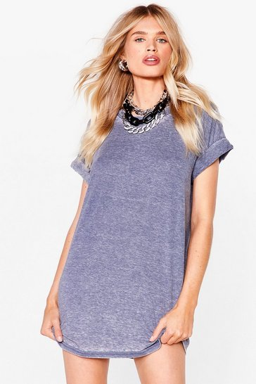 Blue Wash the World Go By Oversized Tee Dress