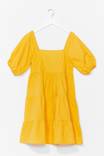 Yellow Tiers to the Weekend Puff Sleeve Mini Dress