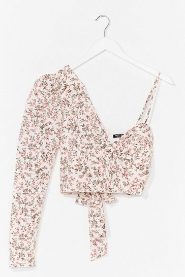 Pink Good to Grow One Shoulder Floral Top