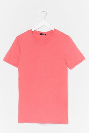 Coral Face The Facts Oversized Tee