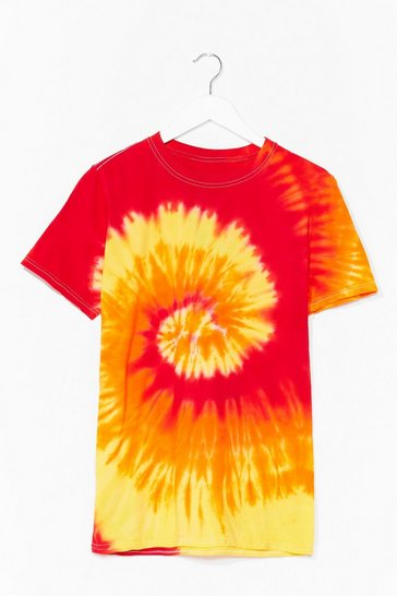 Red Tie Dye Oversized Tee