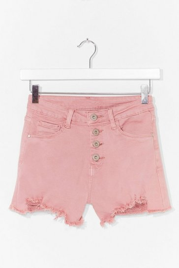Pink Button Detail Distressed Mini Shorts