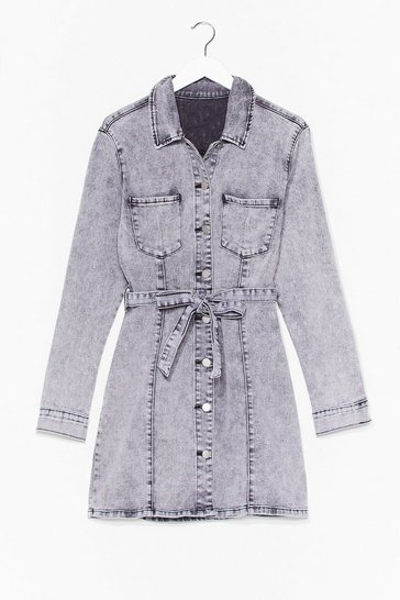 Grey Tie Waist Denim Shirt Dress