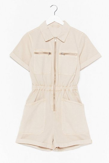 Beige Waist No More Time Denim Zip Romper