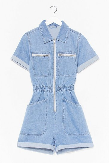 Blue Waist No More Time Denim Zip Romper