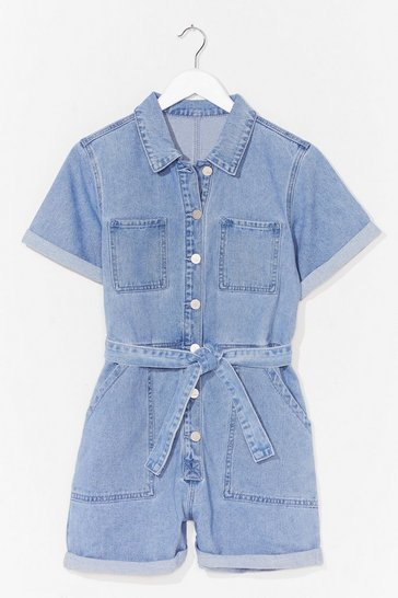 Blue Short But Sweet Denim Belted Romper