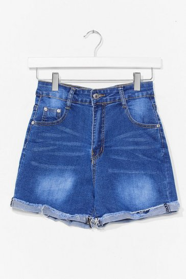 Blue Roll Hem Denim Shorts
