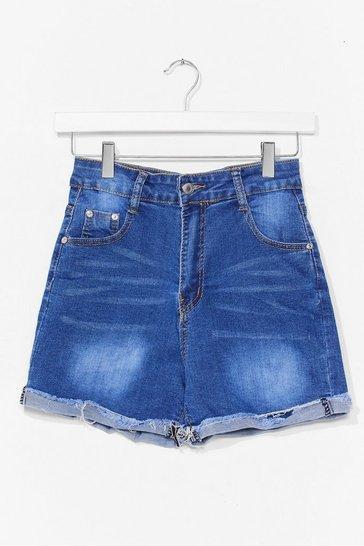 Blue Roll Hem Denim Shorts