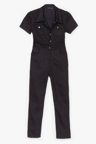 Black Short Sleeve Fitted Denim Boilersuit