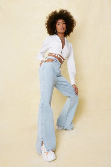 Light blue Cut Out Split Hem Wide Leg Jeans