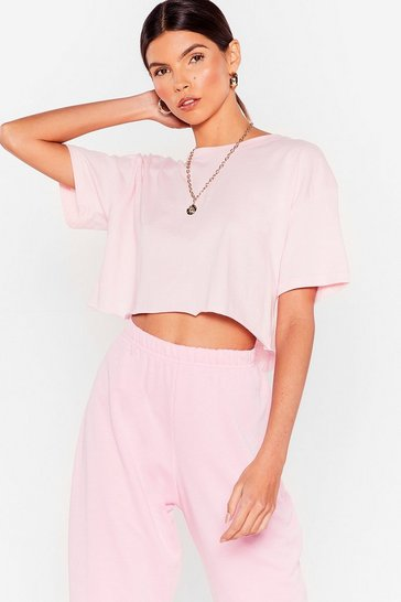 Pink Nice 'N Easy Oversized Cropped Tee