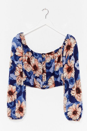 Blue You're My Sunflower Floral Crop Top