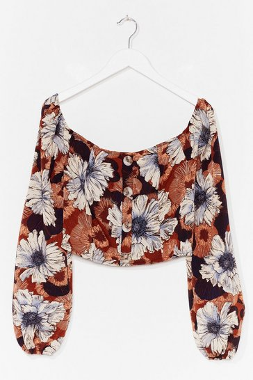 Tan You're My Sunflower Floral Crop Top