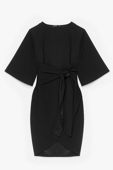 Black No Harm in Tie-ing Plus Wrap Dress
