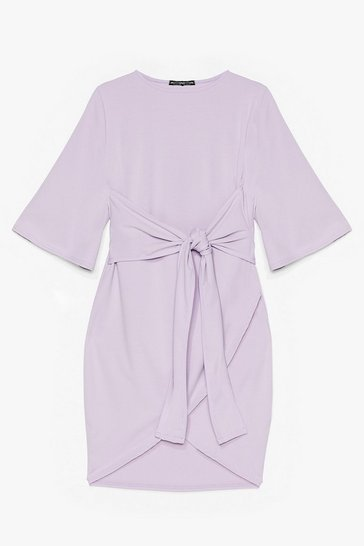 Lilac No Harm in Tie-ing Plus Wrap Dress