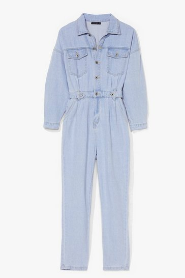 Light blue Got a Love Like Denim Belted Boilersuit