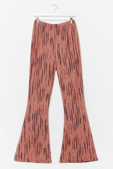 Brown PLUS SIZE TIE DYE FLARES