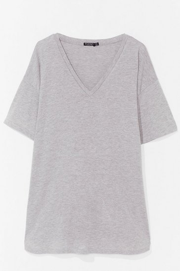 Grey Plus Size V Neck Mini T-Shirt Dress