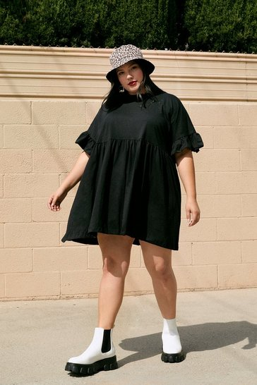Black It's Easy Ruffle Plus Mini Dress