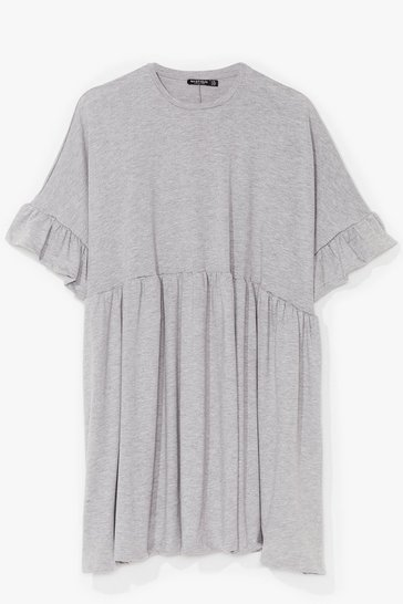 Grey It's Easy Ruffle Plus Mini Dress
