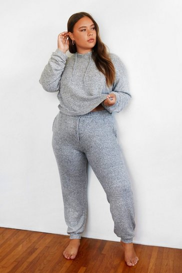 Grey What's the Chill Plus Hoodie Lounge Set