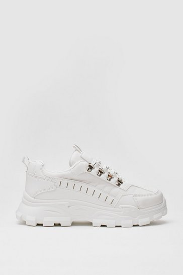 White PU CLEATED SOLE TRAINER