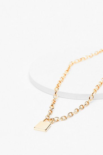 Gold Padlock It Down Chain Necklace