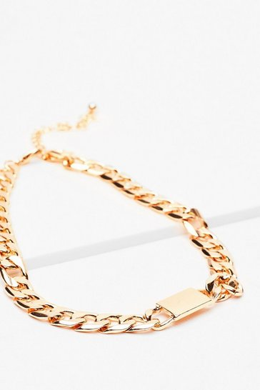 Gold Tag Chunky Chain Necklace