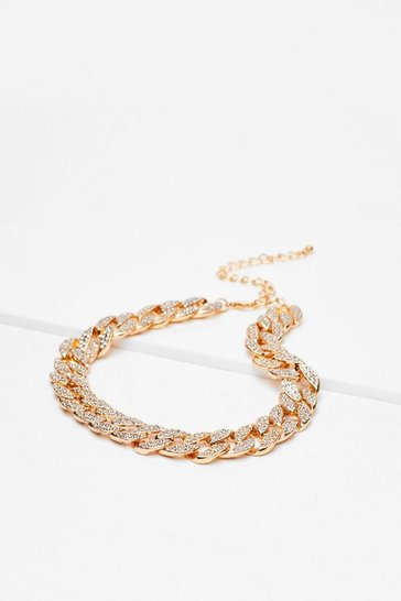 Gold Ice Cold Diamante Chunky Chain Choker