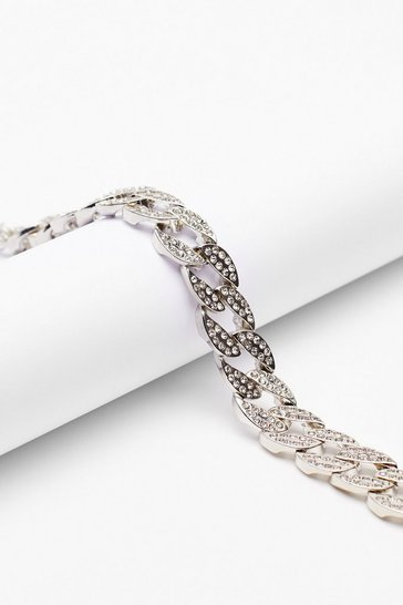 Silver Ice Cold Diamante Chunky Chain Choker