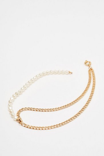 Gold Contrast Pearl Chain Necklace