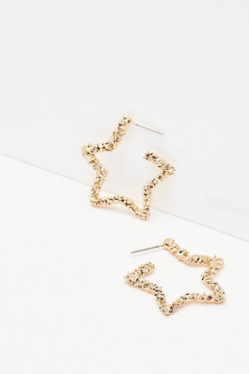 Gold Star-ring Role Textured Hoop Earrings