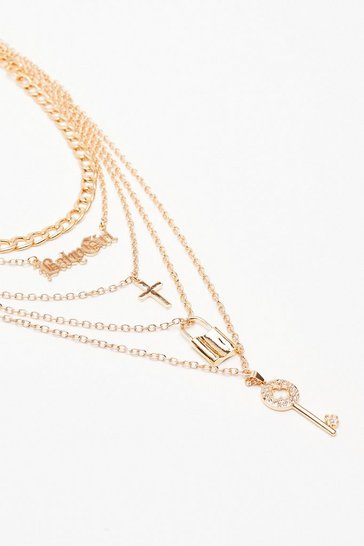 Gold Are You Lost Babygirl Layered Chain Necklace