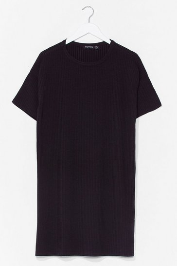 Black From Our Perspective Ribbed Tee Dress