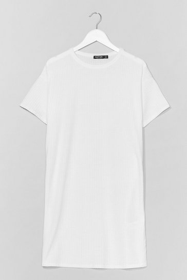White From Our Perspective Ribbed Tee Dress