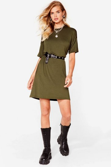 Khaki Loose Fit Midi T-Shirt Dress