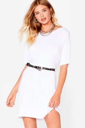 White Loose Fit Midi T-Shirt Dress
