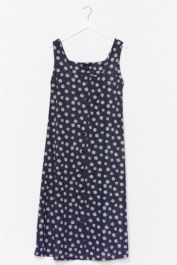 Navy Daisy Sundays Relaxed Midi Dress