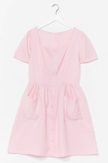 Pink Don't Patch Feelings Button-Down Mini Dress