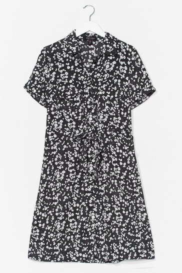 Black Dry Those Tiers Floral Shirt Dress