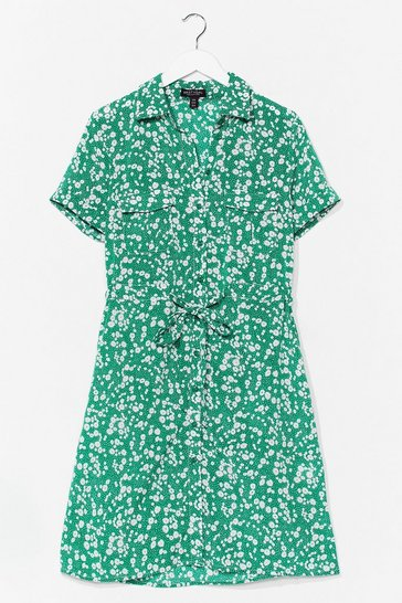 Green Dry Those Tiers Floral Shirt Dress